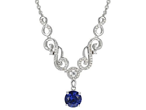 Photo of 2.20ct Round Lab Created Tanzanite Color Yag And .54ctw White Zircon Sterling Silver Dangle Necklace - Size 18