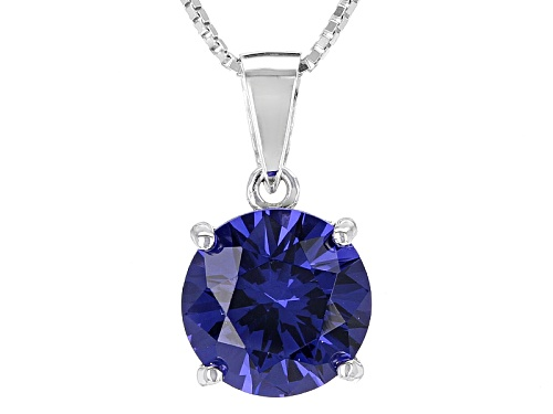 Photo of 4.30ct Round Lab Created Tanzanite Color Yag Solitaire Sterling Silver Pendant With Chain