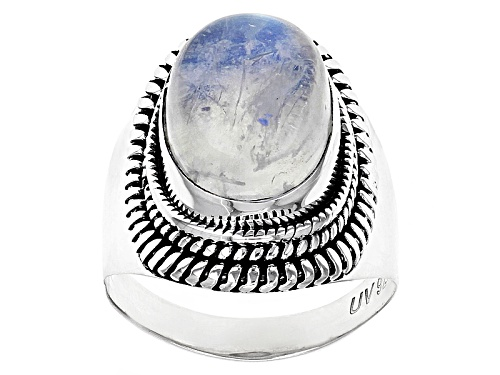 Photo of 14x10mm Oval Cabochon Rainbow Moonstone Rhodium Over Sterling Silver Solitaire Ring - Size 6
