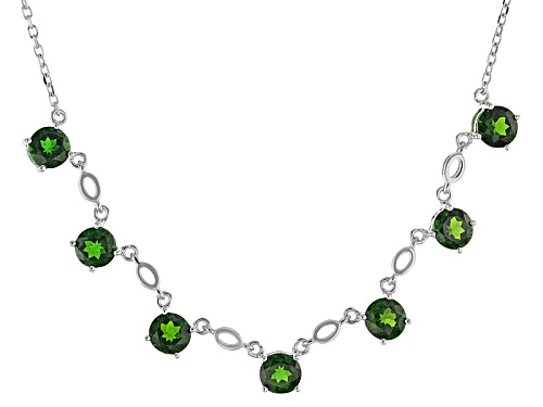 Photo of 4.90ctw Round Russian Chrome Diopside Sterling Silver 7-Stone Necklace - Size 18