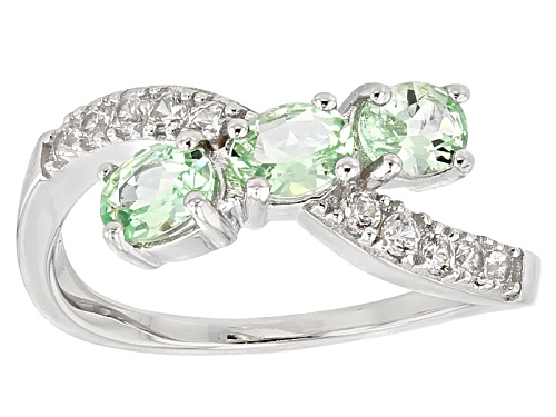 Photo of 1.02ctw Oval Mint Tsavorite And .26ctw Round White Zircon Sterling Silver 3-Stone Crossover Ring - Size 7