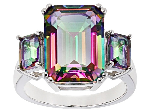 Photo of 7.06ctw 14x10mm And 6x4mm Emerald Cut Multicolor Quartz Rhodium Over Sterling Silver 3-Stone Ring - Size 11