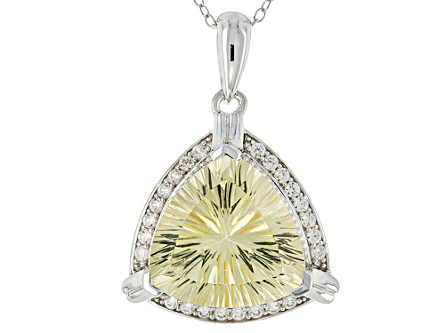 Photo of 8.08ct Trillion Yellow Labradorite And .43ctw Round White Zircon Sterling Silver Pendant With Chain