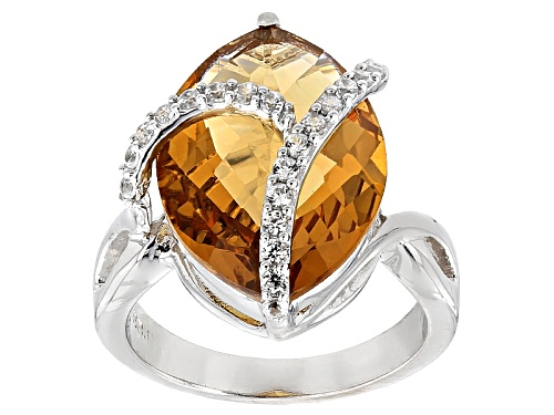 Photo of 8.05ct Marquise Champagne Quartz With .37ctw Round White Zircon Sterling Silver Ring - Size 8