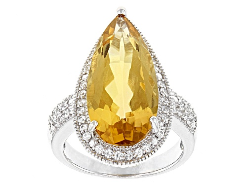 Photo of 8.20ct Pear Shape Brazilian Champagne Quartz And .75ctw White Zircon Sterling Silver Ring - Size 11