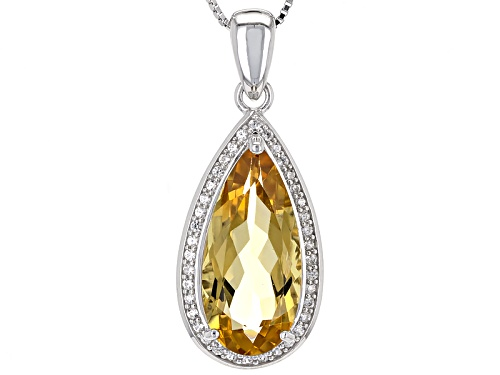 Photo of 8.20ct Pear Shape Brazilian Champagne Quartz And .49ctw White Zircon Silver Pendant With Chain