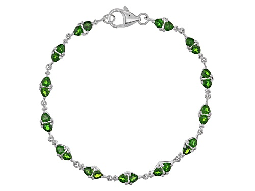 Photo of 4.00ctw Trillion Russian Chrome Diopside And .08ctw Round White Topaz Silver Bracelet - Size 8