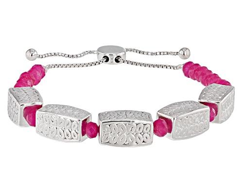 "Photo of 4mm Pink Onyx Rondelle Silver Station Sliding Adjusts Approximately 6"" To 9"" Length Bracelet - Size 7.25"