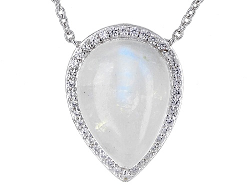 Photo of 18x13mm Pear Shape Cabochon Rainbow Moonstone And .90ctw White Zircon Sterling Silver Necklace - Size 20