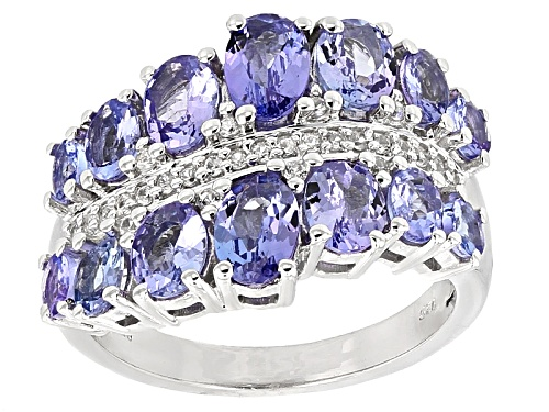 Photo of 2.86ctw Oval And  Round Tanzanite With .16ctw Round White Zircon Sterling Silver Band Ring - Size 5