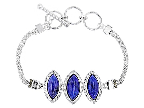 Photo of 16x8mm And 15x7mm Marquise Lapis Lazuli With Round Marcasite 3-Stone Adjustable Silver Bracelet - Size 7.25