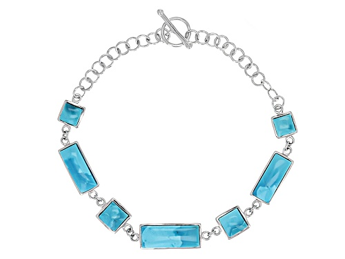 Photo of Square And Rectangular Cabochon Arizona Turquoise Sterling Silver Bracelet - Size 7.25