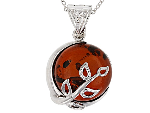 Photo of 15mm Round Red Amber Sterling Silver Enhancer With Chain