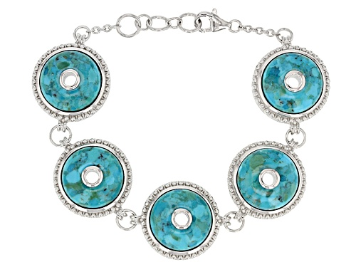 Photo of 17mm Round Cabochon Blue Turquoise Sterling Silver Bracelet - Size 7.25
