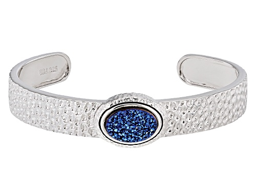Photo of 14x10mm Oval Cobalt Blue Drusy Quartz Sterling Silver Hammered Cuff Bracelet - Size 8