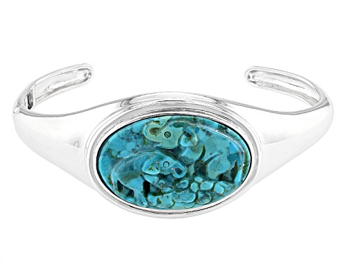 Photo of 30.50x20.50mm Oval Carved Blue Turquoise Elephants Sterling Silver Cuff Bracelet - Size 8