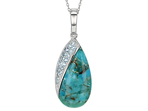 Photo of 27x14mm Fancy Turquoise With .46ctw Swiss Blue Topaz Sterling Silver Enhancer With Chain