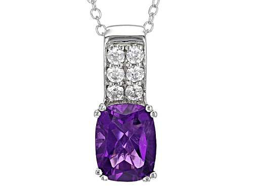 Photo of 1.66ct Rectangular Cushion African Amethyst And .29ctw Round White Zircon Silver Pendant With Chain
