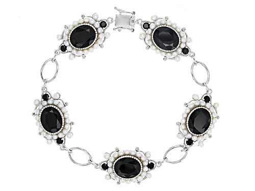 Photo of 17.17ctw Oval And Round Black Spinel With 2.25-2.5mm Round Cultured Freshwater Pearl Silver Bracelet - Size 8.5