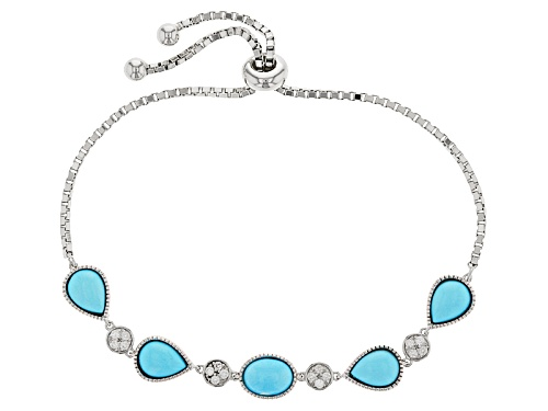 Photo of 8x6mm Pear Shape And Oval Sleeping Beauty Turquoise With .27ctw White Zircon Silver Bolo Bracelet - Size 7.25