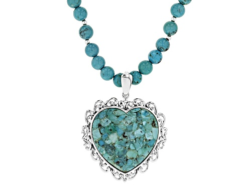 Photo of 8mm Bead And 34x34mm Heart Shape Turquoise Sterling Silver Bead Necklace With Heart Enhancer - Size 20