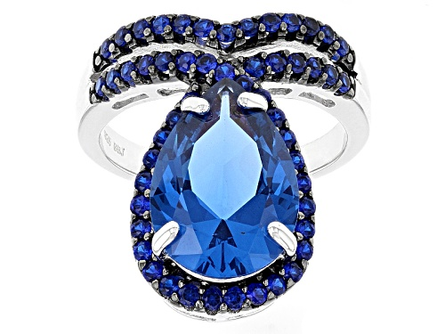 Photo of 6.35ctw Pear Shape And Round Lab Created Blue Spinel Sterling Silver Ring - Size 5