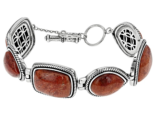 Photo of 19x15mm Rectangular Cushion And 17x14mm Pear Shape Red Sponge Coral Sterling Silver Bracelet - Size 8