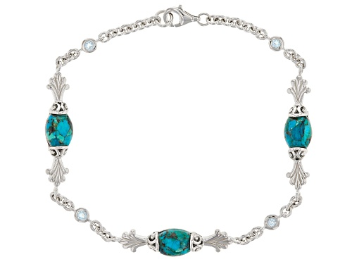 Photo of 12x7mm Fancy Barrel Shape Turquoise And .29ctw Round Glacier Topaz™ Sterling Silver Bracelet - Size 8