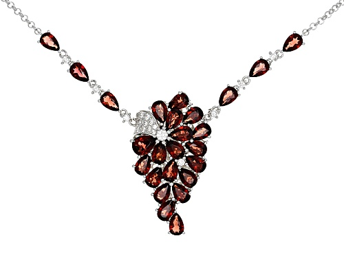 Photo of 11.14ctw Pear Shape Vermelho Garnet™ With .76ctw Round White Zircon Rhodium Over Silver Necklace - Size 18