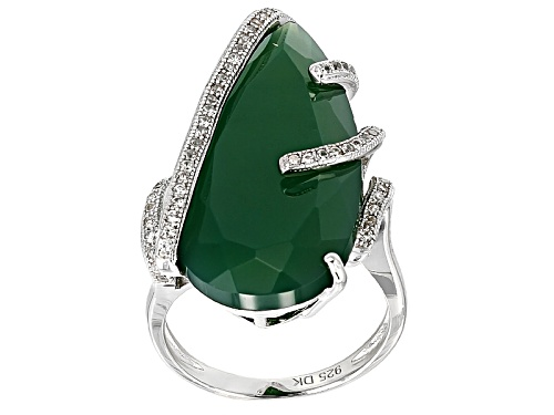 Photo of 28x14mm Pear Shape Green Onyx And .30ctw Round White Zircon Sterling Silver Ring - Size 6