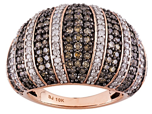 Photo of 2.25ctw Round Champagne And White Diamond 10k Rose Gold Ring - Size 7