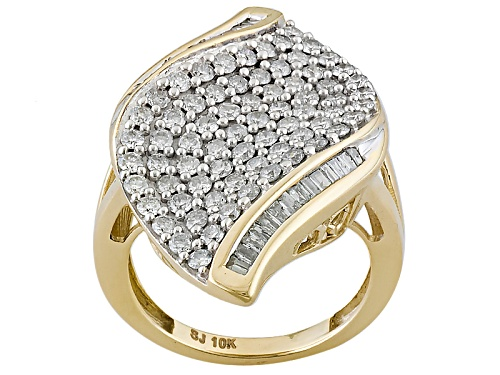 Photo of 1.55ctw Round And Baguette White Diamond 10k Yellow Gold Ring - Size 7