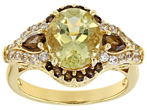 Photo of 2.35ct oval yellow apatite with .39ctw smoky quartz & .39ctw white zircon 18k gold over silver ring - Size 9