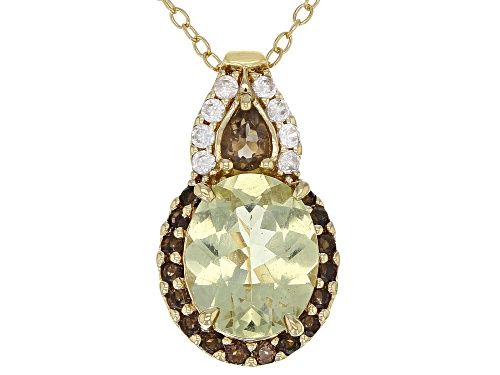 Photo of 2.19ct yellow apatite, .31ctw smoky quartz, .15ctw white zircon 18k gold over silver slide w/chain