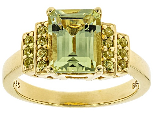Photo of 2.23ct Emerald Cut Yellow Apatite w/ .23ctw Round Yellow Sapphire 18k Gold Over Sterling Silver Ring - Size 8
