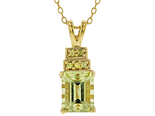 Photo of 2.23ct Yellow Apatite with .08ctw Yellow Sapphire 18k Gold Over Sterling Silver Pendant with Chain
