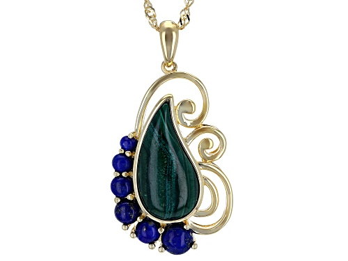 Photo of 18x9mm Free-Form Malachite with Graduated Round Lapis Lazuli 18k Gold Over Silver Pendant w/ Chain