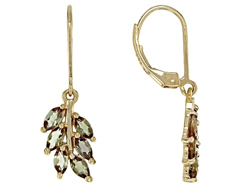 Photo of 1.44ctw Marquise Andalusite 18k Yellow Gold Over Silver Cluster Earrings