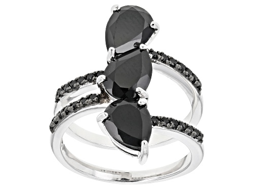 Photo of 3.22CTW PEAR SHAPE AND ROUND BLACK SPINEL RHODIUM OVER STERLING SILVER RING - Size 7