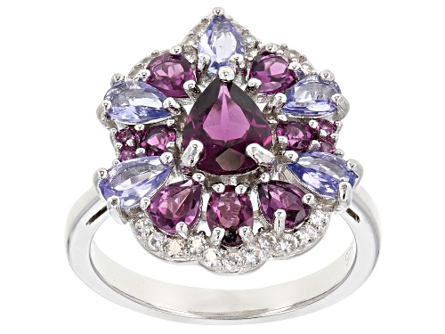 Photo of 2.44ctw Mixed Shape Raspberry Color Rhodolite W/ 1.15ctw Tanzanite & Zircon Rhodium Over Silver Ring - Size 7