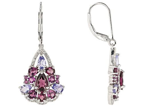 Photo of 3.77ctw Mixed Shape Raspberry Color Rhodolite & 1.69ctw Zircon Rhodium Over Silver Earrings