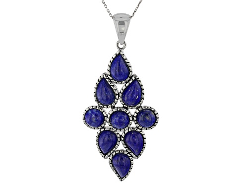 Photo of 10x7mm Pear Shape & 7mm Round Lapis Lazuli Rhodium Over Silver Cluster Pendant With Chain