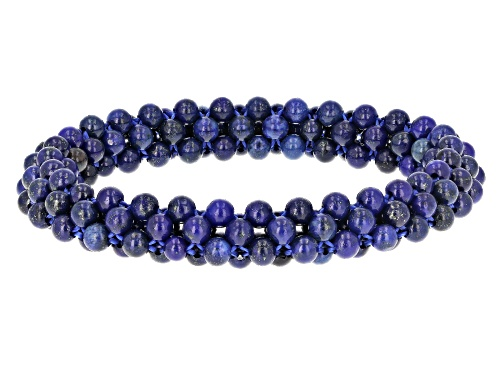 Photo of 4mm Round Lapis Lazuli Knitted Bead Stretch Bracelet
