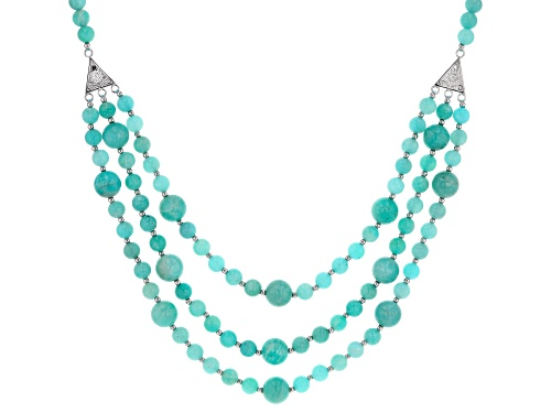 Photo of 6mm and 10mm Round Russian Amazonite, Sterling Silver Bead Necklace - Size 20