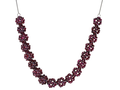 Photo of 3mm Knitted Round Raspberry Color Rhodolite Floral Bead Clusters Sterling Silver Necklace - Size 20