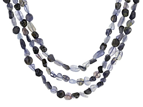 Photo of 5-8mm Free Form Iolite Nuggets Sterling Silver 3-Row Necklace - Size 20