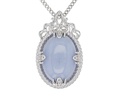 Photo of 14x10mm Oval Cabochon Angelite Sterling Silver Solitaire Pendant With Chain