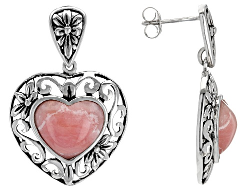 Photo of 12x10mm Heart Shape Rhodochrosite Sterling Silver Dangle Earrings