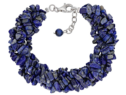 Photo of Mixed Free-form & 6mm Round Lapis Lazuli Rhodium Over Sterling Silver 5-Strand Torsade Bracelet - Size 7.25