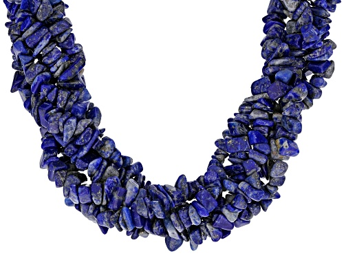 Photo of Mixed Free-form & 6mm Round Lapis Lazuli Rhodium Over Sterling Silver 5-Strand Torsade Necklace - Size 20
